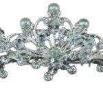 PreciousYou Silber Braut Vintage Jahrgang Perle Kristall Strass Blumen Hochzeit Abschlussball Tiara Diadem Haarkamm (12cm x 3.5cm) mit PreciousBags Schutz-Staubbeutel B00I0UK1WO