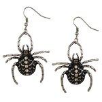 """SIX """"Halloween"""" silber-schwarze Spinnen Ohrhänger mit weißem Strass (388-210) B00NTWWP9U"""