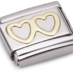 Nomination Composable Classic LOVE Edelstahl und 18K-Gold (Doppeltes Herz) 030116 B001GKK7QK
