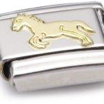 Nomination Composable Classic TIERE – LAND Edelstahl und 18K-Gold (Ganzes Pferd) 030112 B003HF2OVI