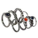 """SIX """"Foreigner"""" 8er Set silberne Ringe mit blau-roten Steinen, Strass (383-462) B00L81LZKE"""