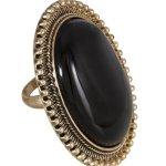 """SIX """"African Desert"""" goldener Ring mit großem, schwarzem Stein (377-766) B00K17Q5XS"""