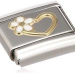Nomination Composable Damen-Bead Edelstahl Classic Love Herz Blume 18K-Gold Emaille weiß 030253/40 B00BFQHPTC