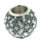 Kettenworld Unisex-Bead Magnetzwischenteil Kugel mit Strass 925 Sterling Silber schwarz und weiß FA 74393/92 B009VYOLD8