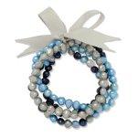Valero Pearls Fashion Collection Damen-Armband Hochwertige Süßwasser-Zuchtperlen in ca.  5 mm Oval weiß / cremeweiß / apricot  Satin grau  19 cm   60020089 B008VLGB0S
