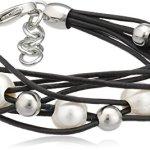 Zeeme Stainless Steel Unisex-Armband 18+2cm Leder 8-reihig schwarz mit sechs Süßwasserzuchtperlen 389060209 B005GTH0Q2