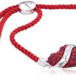 Guess Damen-Armband Metall Textil mit Herzanhänger UBB12117 B007EEBR4I