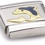 Nomination Composable Classic TIERE – WASSER Edelstahl, Email und 18K-Gold (Delphin) 030213 B003HEVXIE
