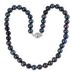 Bella Donna Damen-Collier Perlen 925 Sterlingsilber Zirkonia weiß Süßwaser-Zuchtperlen schwarz 8,5-9,5 mm 45 cm 104061 B0060USQAU