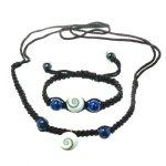 Bella Carina unisex Shamballa Armband und Kette mit shiva auge und 2 Lapis-Lazuli Perlen Länge verstellbar B00BM4JY3W