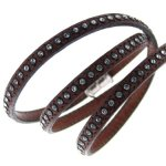 Kettenworld Unisex-Armband 925 Sterling Silber braun mit Strasssteinen 326463 B00BLF9RAC