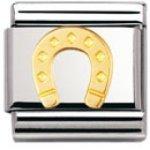 Nomination Composable Classic GOOD LUCK Edelstahl und 18K-Gold (Hufeisen) 030115 B003HF2SCI