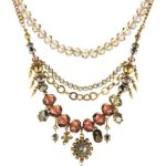Pilgrim Jewelry Damen-Halskette Messing Pilgrim Damen-Halskette mit Anhänger aus der Serie Russian loving vergoldet,lila 40.0 cm 231332321 B00ESBBIDK