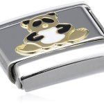Nomination Composable Classic TIERE – LAND Edelstahl, Email und 18K-Gold (Panda) 030212 B003HSY724