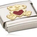 Nomination Composable Damen-Bead Classic Love Edelstahl Emaille 18k-Gold (Baer mit Herz) 030253/32 B007BD1EPY