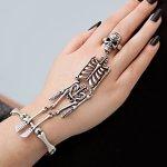"""SIX """"Halloween"""" silbernes Armband und Ring mit Skelett verbunden (388-202) B00NTWVEOW"""