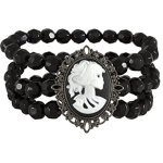 """SIX """"Halloween"""" Armband mit schwarzen Steinen und Totenkopf / Skelett (388-204) B00NTWW2BQ"""