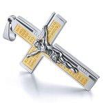 MunkiMix Edelstahl Anhänger Halskette Silber Gold Jesus Christ Kruzifix Kreuz Bibel Lords Prayer Jahrgang Herren ,mit 58cm Kette B00FC40UC2