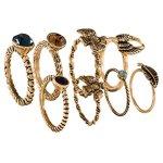 """SIX """"Ikat Blue"""" 8er Set goldene Ringe, gemustert, Federn und Steine (392-753) B00NTWTVSS"""