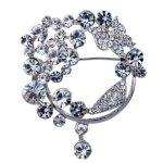 YAZILIND JEWELRY LTD Yazilind Vintage- Voll Runde Clear Crystal versilbert Broschen und Pins für Hochzeit Bouquet B00KBSA1Q4