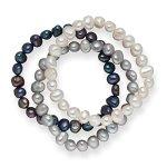 Valero Pearls 3er Set Armbänder Süßwasserzuchtperlen weiß silber dunkelblau 60201782 B00FEG6WNO