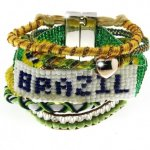 Sweet Deluxe Damen Armband Messing rhodiniert Stoff 19 cm mehrfarbig 03612 B00JOLSUTE