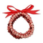 Valero Pearls Fashion Collection Damen-Armband Hochwertige Süßwasser-Zuchtperlen in ca.  5 mm Oval rosa / pink / purple  Satin rot  19 cm   60020088 B008VLGB7G