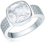 RAFAELA DONATA 925/- Sterling Silber rhodiniert Ring quadratisch Zirkonia weiß B002SG7GBK