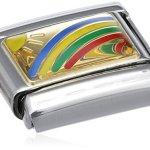 Nomination Composable Classic DAILY LIFE Edelstahl, Email und 18K-Gold (Regenbogen) 030208 B003HEXI3M