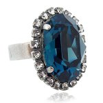 nobel schmuck Ring mit SWAROVSKI ELEMENTS – Farbe Silber Montana – Verstellbar – in Etui – Made in Germany B002Q9ZICI