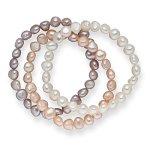 Valero Pearls 3er Set Armbänder Süßwasserzuchtperlen weiß apricot flieder 60201783 B00FEG6XAQ