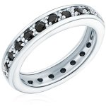 RAFAELA DONATA 925/- Sterling Silber rhodiniert Memoire-Ring mit Zirkonia schwarz B002SG7GAG
