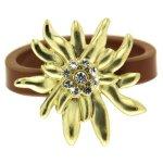 Sweet Deluxe Damen-Ring Messing Wiesn Edelweiß gold/braun Gr. 56 (17.8) 2445 B00CYEGRDY