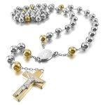 MunkiMix Edelstahl Anhänger Halskette Silber Gold Jesus Christ Kruzifix Kreuz Jahrgang 29 Zoll Rosenkranz Kette Herren B00GA076RY