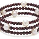 Valero Pearls Fashion Collection Damen-Armband elastisch Hochwertige Süßwasser-Zuchtperlen in ca.  8 mm Rund weiß    Granat 50 cm   60200804 B002OL2JXY