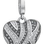 JETTE Charms Damen-Charm Wild Heart 925er Silber rhodiniert 42 Zirkonia 43 Kristall One Size, silber B00GIR3U24