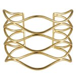 """SIX """"Wired"""" breiter, offener Armreif aus goldenen Metall Wellen (382-352) B00KW9FZPY"""