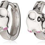 ZEEme Kinder und Jugendliche-Creolen 925 Sterling Silber Klapp Elefant glanz Lack pink/schwarz 139210020R B00ECNLHP8