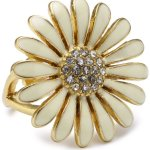 Pilgrim Jewelry Damen-Ring Blume vergoldet weiss 2.6 cm verstellbar Gr. 51-59 171312004 B00B5Y7U1M