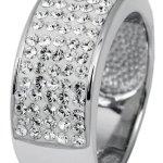 Burgmeister Jewelry Damen-Ring Band 925/-Sterling Silber rhodiniert, Swarovski weiß JBM1121-126 B0099J4DH4