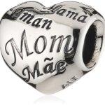 Pandora Damen-Charm 925 Sterling Silber Herz mit Schriftzug Mom in verschied. Sprachen 791112 B00B7HMNYG