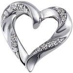 Goldmaid Damen-Anhänger 9 Karat 375 Weißgold Herz Hochglanz 15 Diamanten SI/H 0,08 ct. He A6335WG B00DHB96ZE
