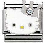 Nomination Damen-Charm Hello Kitty Krone Edelstahl Emaille Glas weiß – 230290/10 B00IZ2SCFU