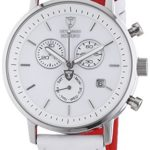 Detomaso Herren-Armbanduhr XL MILANO Chronograph White/White Quarz Leder DT1052-D B00C92R7NU