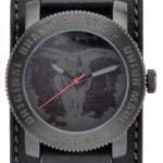 Edc Damen-Armbanduhr XL coin pusher – cool black, grey Analog Quarz Leder EE100531003 B00GA3CS7O