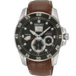 Seiko Herren-Armbanduhr XL Sportura Analog Automatik Leder SNP055P2 B0097BE888