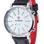 DETOMASO Herrenuhr Spacy Timeline Rund Silber/Weiß/Leder G-30730-S B003URRDKK