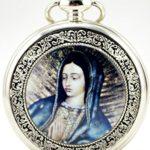 Unendlich Unique Christianity Blessed Virgin Mary mit Handaufzug mechanische Taschenuhr mit Skelett aus Stahl,Silber B00LGDD1QA