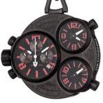 Detomaso Herren-Armbanduhr XL TRIPLO POCKET Taschenuhr Black Chronograph Quarz DT2038-E B00IOG6ZJM