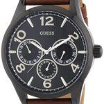 Guess Herren-Armbanduhr XL Analog Quarz Leder W0493G3 B00MWYHV4A